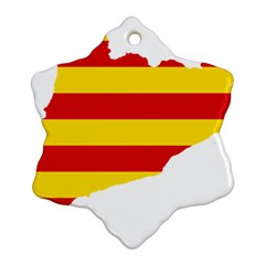 Flag Map Of Catalonia Snowflake Ornament (2-Side)