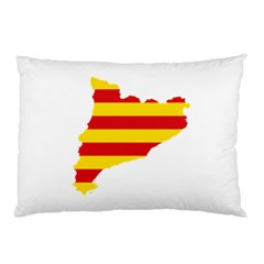 Flag Map Of Catalonia Pillow Case (Two Sides)