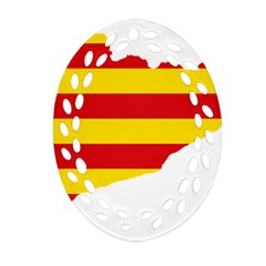 Flag Map Of Catalonia Oval Filigree Ornament (2-Side)