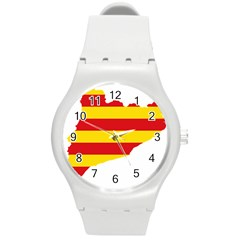 Flag Map Of Catalonia Round Plastic Sport Watch (M)