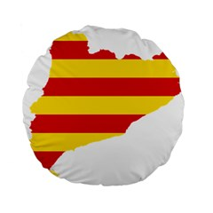 Flag Map Of Catalonia Standard 15  Premium Round Cushions
