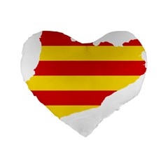 Flag Map Of Catalonia Standard 16  Premium Heart Shape Cushions