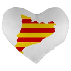 Flag Map Of Catalonia Large 19  Premium Heart Shape Cushions