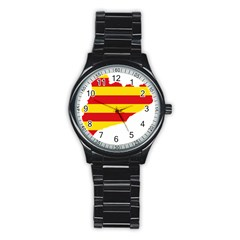 Flag Map Of Catalonia Stainless Steel Round Watch
