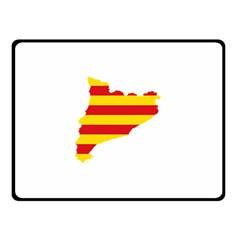 Flag Map Of Catalonia Double Sided Fleece Blanket (Small)