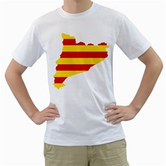 Flag Map Of Catalonia Men s T-Shirt (White)