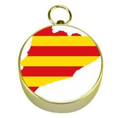Flag Map Of Catalonia Gold Compasses