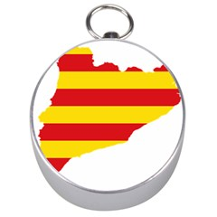 Flag Map Of Catalonia Silver Compasses