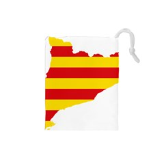 Flag Map Of Catalonia Drawstring Pouches (Small)