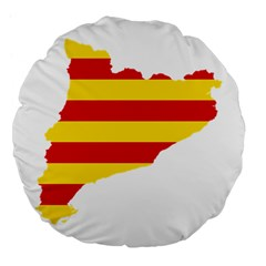 Flag Map Of Catalonia Large 18  Premium Flano Round Cushions