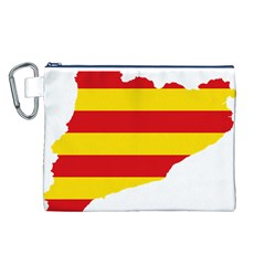 Flag Map Of Catalonia Canvas Cosmetic Bag (L)