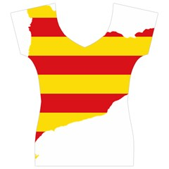 Flag Map Of Catalonia Women s V-Neck Cap Sleeve Top