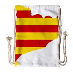 Flag Map Of Catalonia Drawstring Bag (Large)