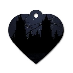 Dark Scene Illustration Dog Tag Heart (One Side)