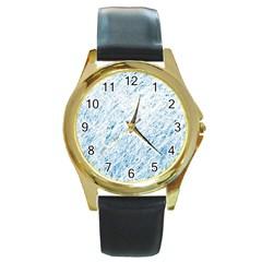 Blue pattern Round Gold Metal Watch