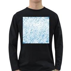 Blue pattern Long Sleeve Dark T-Shirts