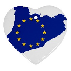 Catalonia European Union Flag Map  Ornament (Heart)