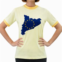 Catalonia European Union Flag Map  Women s Fitted Ringer T-Shirts
