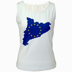 Catalonia European Union Flag Map  Women s White Tank Top