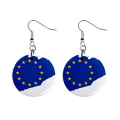 Catalonia European Union Flag Map  Mini Button Earrings