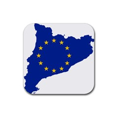 Catalonia European Union Flag Map  Rubber Coaster (Square)