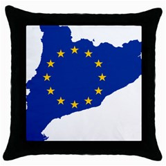 Catalonia European Union Flag Map  Throw Pillow Case (Black)