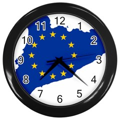 Catalonia European Union Flag Map  Wall Clocks (Black)