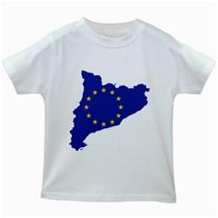 Catalonia European Union Flag Map  Kids White T-Shirts