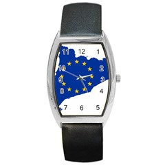 Catalonia European Union Flag Map  Barrel Style Metal Watch