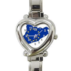 Catalonia European Union Flag Map  Heart Italian Charm Watch