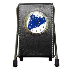 Catalonia European Union Flag Map  Pen Holder Desk Clocks