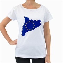 Catalonia European Union Flag Map  Women s Loose-Fit T-Shirt (White)