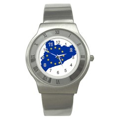 Catalonia European Union Flag Map  Stainless Steel Watch