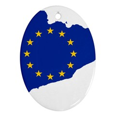 Catalonia European Union Flag Map  Oval Ornament (Two Sides)