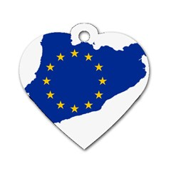 Catalonia European Union Flag Map  Dog Tag Heart (One Side)