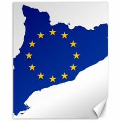 Catalonia European Union Flag Map  Canvas 11  x 14