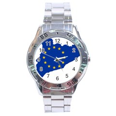 Catalonia European Union Flag Map  Stainless Steel Analogue Watch