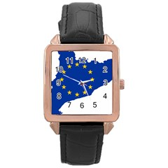 Catalonia European Union Flag Map  Rose Gold Leather Watch