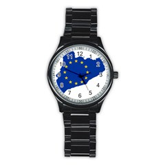 Catalonia European Union Flag Map  Stainless Steel Round Watch