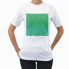 Green pattern Women s T-Shirt (White) (Two Sided)