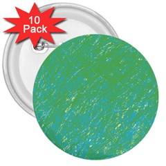 Green pattern 3  Buttons (10 pack)