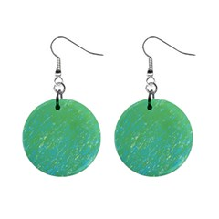Green pattern Mini Button Earrings