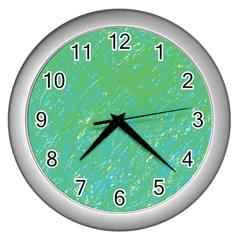 Green pattern Wall Clocks (Silver)