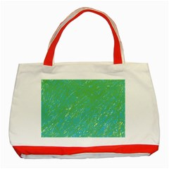 Green pattern Classic Tote Bag (Red)