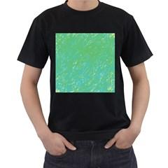 Green pattern Men s T-Shirt (Black)