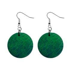Deep green pattern Mini Button Earrings