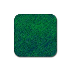 Deep green pattern Rubber Square Coaster (4 pack)