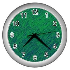 Deep green pattern Wall Clocks (Silver)