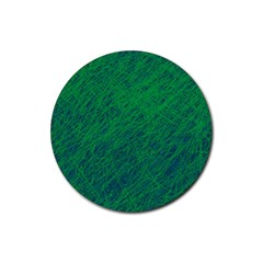 Deep green pattern Rubber Round Coaster (4 pack)