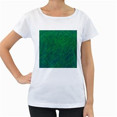 Deep green pattern Women s Loose-Fit T-Shirt (White)